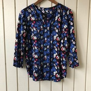 Talbots Floral Print V Neck Blouse w/ Knit Accents